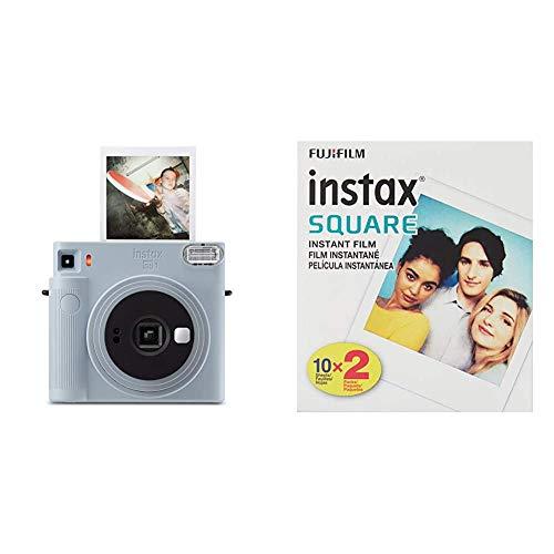Fujifilm Instax Square SQ1 Instant Film Camera, Glacier Blue Bundle with Instax Square Film, White (20 Exposures)