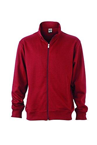 James & Nicholson Herren Workwear Sweat Jacket Sweatshirt, Rot (Wine), Large