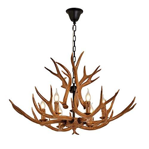 QIRUI Hjorthorn ljuskrona, fuskhorn taklampa vintage stil ljuskrona, med 6 spiralformade lamphållare av E14, rustika hängande lampor för matsal, vardagsrum, bar, café, 8688-6
