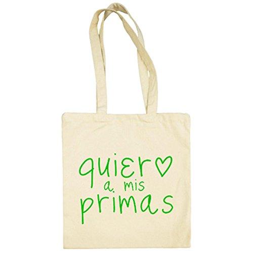 Bolsa de tela Quiero a mis primas - Beige, 38 x 42 cm