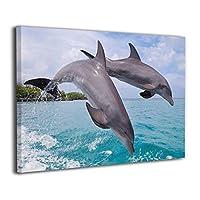Skydoor J パネル ポスターフレーム イルカ カップル インテリア アートフレーム 額 モダン 壁掛けポスタ アート 壁アート 壁掛け絵画 装飾画 かべ飾り 30×20