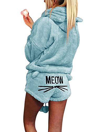 Damen Warmer Winter Gesetzte Zweiteilige Nette Katzen Pyjamas Hoodie Nachtwäsche mit Kapuze Hosenanzug Schlafanzug Jumpsuit Himmelblau S