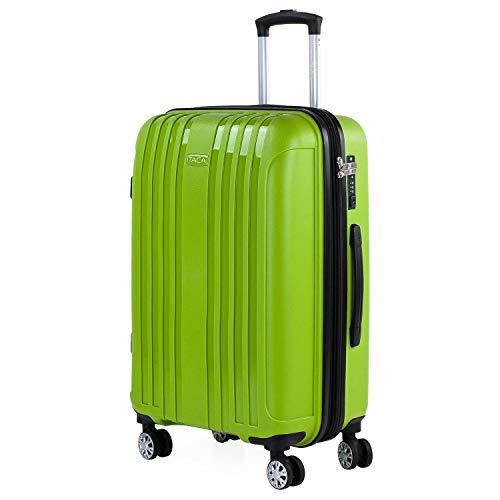 ITACA - Maleta Mediana expandible para Viaje rígida con 4 Ruedas Dobles Fabricada en Polipropileno con Cerradura TSA, Ligeras y s 760260, Color Pistacho