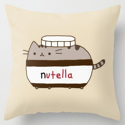 Kenneth Case Cool Art Design Cute Funny Nutella Cat Pillow Cases 18X18 Inch(One Side)
