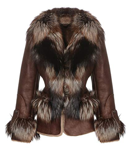 Hollert lamsvachtjas Brava Bruin lederen jas bontjas echt leer knuffelig warm hoogwaardige afwerking echt Merino schapenvacht