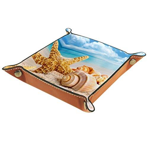 YATELI Caja de Almacenamiento pequeña, Bandeja de Valet para Hombre,Estrella de mar Concha de Playa (2),Organizador de Cuero para Llaves de Caja de Monedas