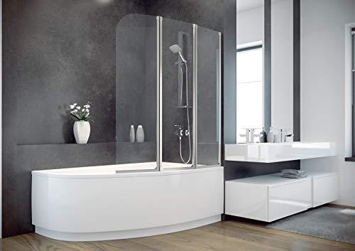 ECOLAM Badewanne Eckbadewanne Acryl Cornea weiß 140x80 cm RECHTS + Schürze + Badewannenabtrennung Ablaufgarnitur Ab- und Überlauf Automatik Füße Silikon Komplett-Set Duschbadewanne