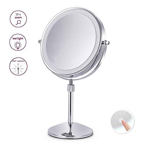 XIGG Miroir de Maquillage Double Face, Miroir de Table LED, Miroir Cosmétique sur Pieds, Tactile dimmable Hauteur Réglable, 10 Fois Grossissement, Idéal pour Rasage, Maquillage