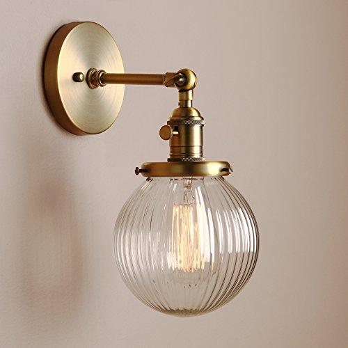 Pathson Antik Deko DesignGestreifte Kleine Kugel Glas innen Wandbeleuchtung Wandleuchten Loft-Wandlampen Wandbeleuchtung (antike Farbe)
