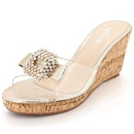 Trendy Transparent Strap Mid Height Wedges