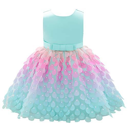LSHEL Blumenmädchen Kleid 3D-Blütenblätter Wassertropfen Baby Prinzessin Kleider, Apfelgrün, 6-12 Monate