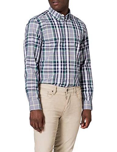 Tommy Hilfiger MIDSCALE Check Shirt Camisa, Verde Rural/Azul Marino/Multi, M para Hombre