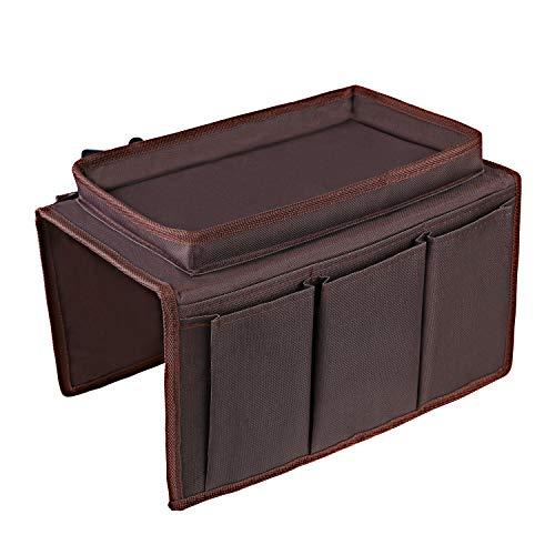 OOTSR Organizador de apoyabrazos para sofá con Bandeja, Soporte de Almacenamiento Remoto para TV de sofá para sillones reclinables, refrigerios, Libros, teléfonos Inteligentes, Gafas, Cables