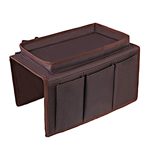 OOTSR Sofa Armrest Organizer With Tray, Couch TV Remote Storage Holder for Recliners Snacks Book Smartphones Magzines Glasses Cables
