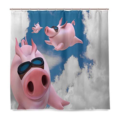 BIGJOKE Duschvorhang, Tierschwein-Druck, schimmelresistent, wasserdicht, Polyester-Stoff, 12 Haken, 183 x 183 cm, Heimdekoration