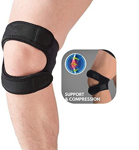 Patella-Sehnen-Kniebandage für Gelenkschmerzen, verstellbares Knieband für Herren, Jumper, Neopren-Kniebandage für Laufen, Arthritis, Bänderverletzungen, Sehnenscheidenentzündung, schwarz (1 Stück),