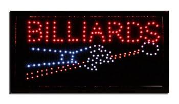 LED Neon Lighted Billiards Sign - Pool Table Sign- Pool Hall Game Room Decor