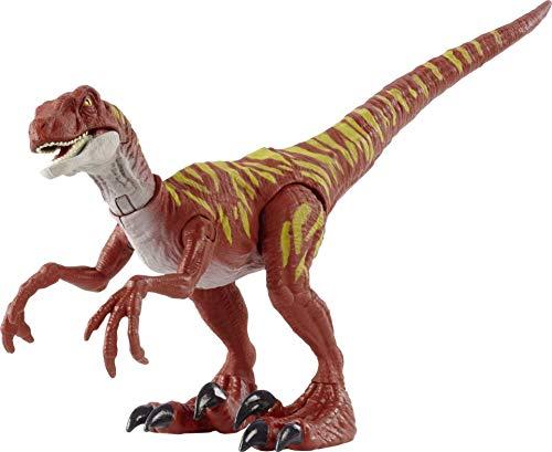 Jurassic World Dinosaurio Ataque Salvaje Velociraptor rayado, figura de juguete con movimientos para niños +4 años (Mattel HBX31)