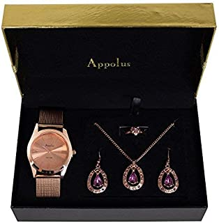 Gifts For Women Mom Wife Girlfriend Anniversary Birthday Valentines Day Best Gift - Appolus Watch Necklace Earrings Ring Set Rose Gold