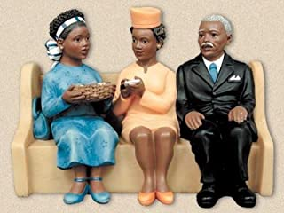 African American Church Pews Figurines Collection Plate