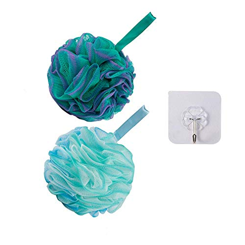 GaGeetopia Shower Bath Sponge  2 Pack Shower Loofah Pouf Balls with Extra Wall Hook for Body Wash Bathroom Men Women Durable Body Scrubber Exfoliator Shower Essential Skin Care Flower Color