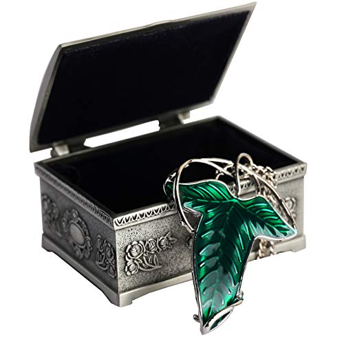 Lord of The Rings Aragorn Elven Green Leaf Brooch Pin Pendant Necklace with Jewelry Box