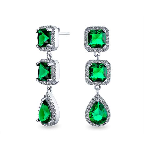 Lange Grüne Träne Halo CZ Erklärung Kronleuchter Ohrringe Simulierten Emerald Versilbertes Messing
