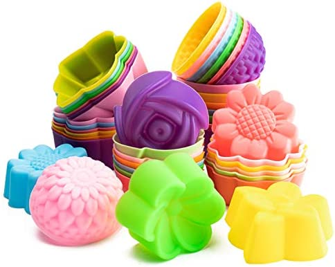 42Pcs Silicone Molds Cupcake Multi Flower Shapes Silicone Baking Cups Molds Non Stick Donut product image