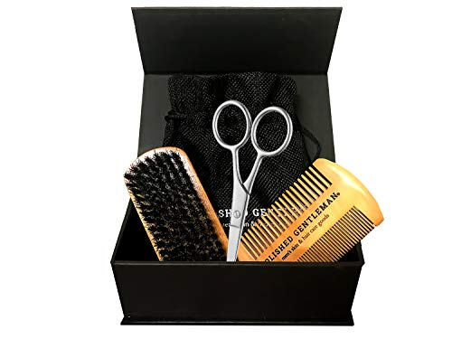 Beard Brush Set With Comb and Scissors Set for Men - Natural Boar Bristle Brush, Durable Wooden Comb Grooming Kit - Maintains Soft, Shiny, Smooth Facial Hair - Mustache Straightening and Shaping Tools