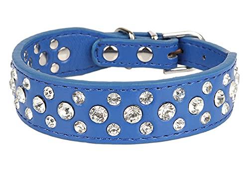 Gatos pequeños Perros Collares Collar de Diamantes de imitación para Mascotas Accesorios Collar Suministros para Cachorros Accesorios, Azul Oscuro, S