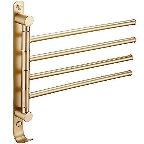 Toallero para baño, toallero giratorio de oro cepillado, barra de toalla giratoria de pared de latón con 4 brazos con anillo de toalla para baño, cocina