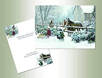 Performing Arts Velvet Touch Finish Full Color Inside Feeding Horses Stationery Paper 05236-16