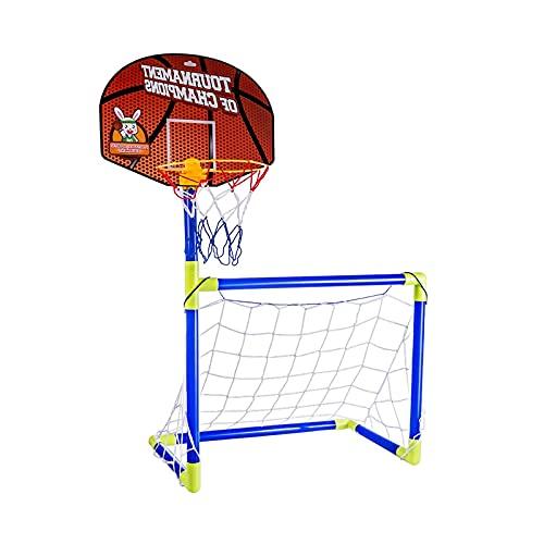 TAHUAON 2 en 1 portería de fútbol conjunto niños deporte portátil fútbol y baloncesto aro