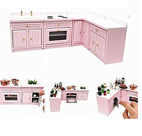 EatingBiting 1:12 Dollhouse Miniature Furniture Kitchen Wooden Pink Combination Cabinet Sink Counters 1/12 Scale Dollhouse Miniature Furniture Deluxe Wooden Kitchen Set