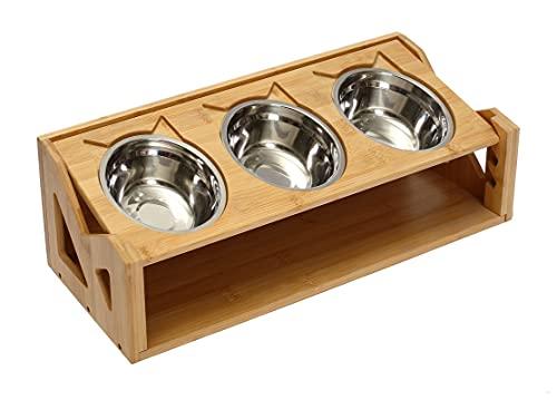 Geyecete - Acciaio inossidabile Ciotola per per gatti e cani, Stazione di Alimentazione per cucciolo e gattini con supporto in legno bambù , Altezza Regolabile,Grande per Acqua e Cibo-3 ciotola