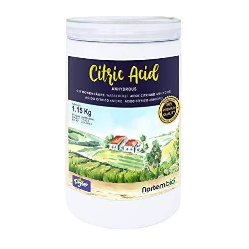 Nortembio Acide Citrique 1,15 Kg. Poudre Anhydre, 100% Pure. pour la Production Biologique. E-Book Inclus.