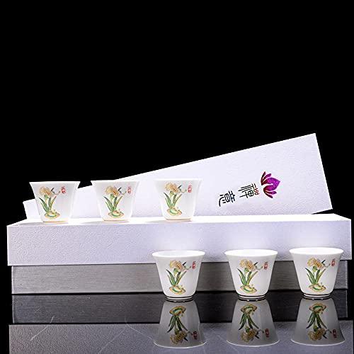 Juego de té de porcelana blanca, productos del zodiaco para mujeres, taza de té, pequeña copa de vino, regalo, pequeño y práctico, logotipo personalizado, 12 tazas, mes, narcisos * 6 caja de regalo