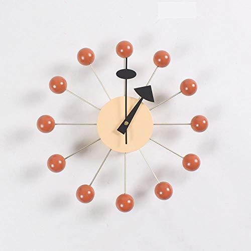 HHKLSF Hintergrundwanduhr einfache farbige Kugeluhr Süßigkeiten Wanduhr, Durchmesser 32 cm/orange Kugel