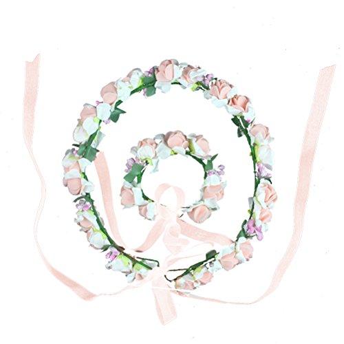 HBF Blumenkranz Handwerk Blumenkrone Stirnband Armband Festival Hochzeit Hand und Haarkranz KIT BOHO Blumenstirnband für Mädchen Brautjungfer Party Hochzeit Festival (1)