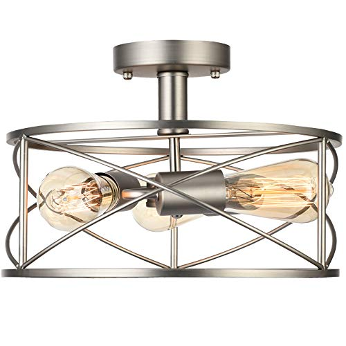 Capslpad Industrial Semi-Flush Mount Ceiling Light Vintage Close to Ceiling Lamp 3-Light Farmhouse Retro Metal Cage Ceiling Light Fixture for Bedroom Kitchen Foyer Hallway (Brushed Nickel)