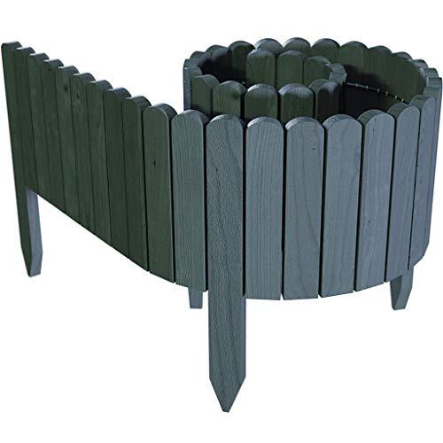 fasloyu Rollborder Holzlatten | 10/20/30cm Hoch & 200cm lang | Holz-Zaun | Staketenzaun Perfekt als Beet-Umrandung oder Weg-Abgrenzung | Grau
