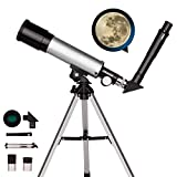 Telescopio astronómico para niños, telescopios refractores ópticos de tubo de 360/50 mm, telescopio monocular para exteriores para principiantes para niños, con trípode y visor buscador + extensor +