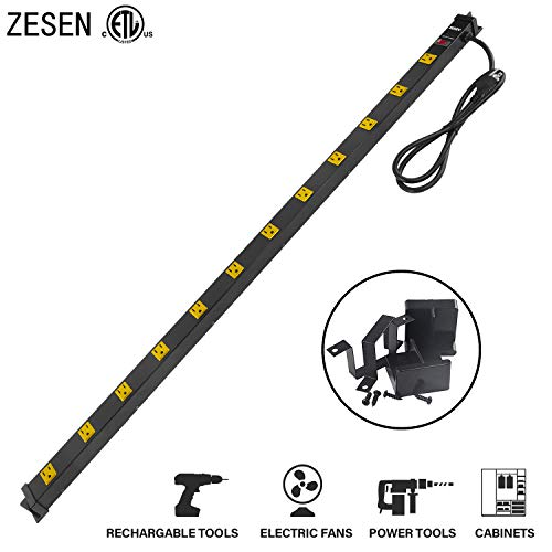 ZESEN 12 Outlet Heavy Duty Workshop Metal Power Strip Surge Protector with 4ft Heavy Duty Cord, ETL...