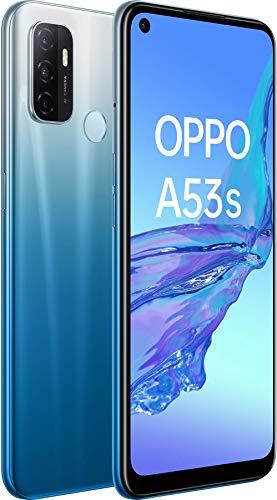 OPPO A53s Bleu Fantaisie - 128 Go - 4 Go de RAM – Écran Immersif 90Hz - Batterie 5000 mAh - Double Haut-Parleur Stéréo - Triple Caméra avec IA - USB-C - Android 10 - Smartphone débloqué 4G