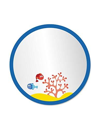 DECOLOOPIO 1351 - Specchio per Bambini, Motivo Oceano, Rotondo, 30 x 30 x 30 cm