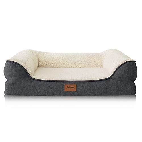 Petsure Orthopedic Dog Beds for Small, Medium, Large Dogs & Cats - 36x27x7 inches Large Dog Beds, Grey - Memory Foam Couch Dog Bed with Removable Washable Cover - Bolster Dog Beds, Nonskid Bottom