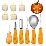 Cojoy Set da Intaglio Zucca, 6 Pezzi Set da Intaglio Zucca in Acciaio Inossidabile e 5 Pezzi a lume di Candela a LED per la Decorazione della Zucca di Halloween