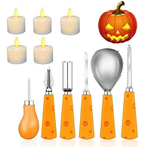 Cojoy Halloween Kürbis-Schnitzset, 6 Stück Edelstahl Kürbis schnitzen Set und 5 Stück LED-Kerzenlicht für Halloween Kürbis Dekoration