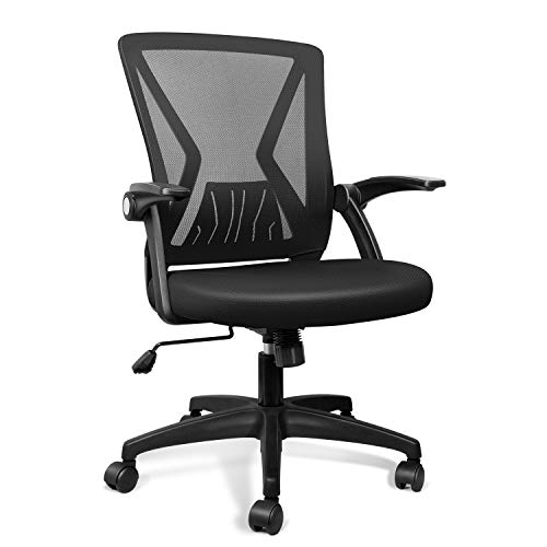 QOROOS Mesh Office Chair Ergonomic Mid Back Swivel Black Mesh Desk Chair Flip Up Arms with Lumbar Support Computer Chair Adjustable Height Task Chairs