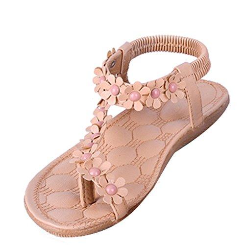 Donna Sexy Girls Estate Pantofole Boemia Fiore Tallone Scarpe Flip Flop Sandali Piatti Infradito ( Rosa EU 36 )